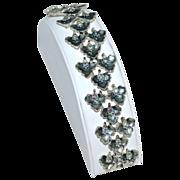 SALE Vintage BSK ~ Blue Aurora Borealis Flower Silvertone Link Bracelet