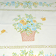 SOLD Lady Pepperell ~ Cottage Flowers, Basket & Butterflies Pillowcase