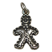 SALE Sterling Silver Gingerbread Man Charm