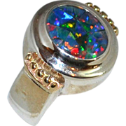 SALE Sterling & 14K Gold Chunky Faux Opal Ring