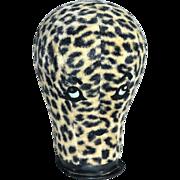 SALE 1960s Leopard Print Fur Fabric Rhinestone 'Eyes & Lips' Mannequin Head