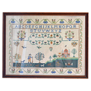 "SALE 24"" Folk Art Sampler in Custom Wood Frame"