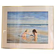 "SALE Huge 34"" Original Watercolor 'Sea Side Sisters' by Artist Susan Marion Framed Painti"