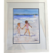 """SALE 24"""" Original Watercolor 'Take My Hand' by Artist Rita Trudeau Framed Painting"""