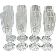 SOLD Set of 8 Lead Crystal Fluted Diamond-Cut Champagne Glasses