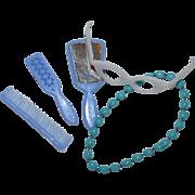 SALE 1960s Barbie ~ Blue Mirror, Brush & Comb, Eyeglasses & Necklace