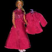 SOLD 1960s Barbie ~ 2-Pc Deep Pink & Metallic Silver Dress & Jacket Set