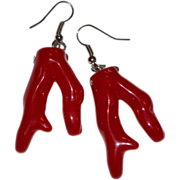 SALE Chunky Red Faux Coral Dangle Earrings