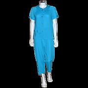 SALE 1960s Lorraine ~ Caribbean Blue Nylon Pajamas ~ Size 36