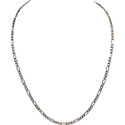 SALE Sterling & Gold Vermeil Italian Figaro Chain Necklace