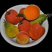 SOLD 1950s Set of 8 Flocked Velvet Apples, Pears, Orange & Peach Fruit