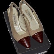 SALE Saks Fifth Avenue ~ Natural Linen & Alligator Embossed Slingback Heels w/ Original Box