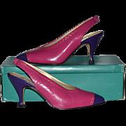 SALE 1980s Bandolino ~ Pink & Purple Color Block SIingback Heels w/ Box