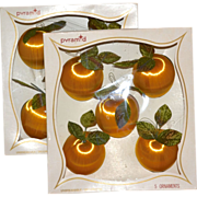 SALE Pyramid ~ Set of 10 Satin Peach w/ Green Velvet Leaf Ornaments in Original Boxes