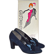 SALE 1960s Custom Craft ~ Blue Suede Shoes w/ Satin Bows & Original Box
