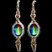 SALE Unique Mod Art Glass or Enamel Dangle Earrings