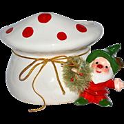 SALE Napcoware ~ Christmas Gnome or Elf Planter with Red Polka Dot Mushroom & Bottle Brush Wre