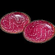 SALE Hot Pink Drizzle Enamel on Copper Screwback Earrings