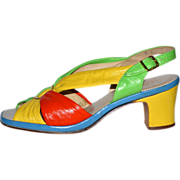 SALE 1960s Selby Fifth Avenue ~ Colorblock Leather Sandal Shoes