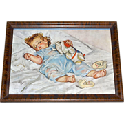SALE 1920s Maud Tousey Fangel 'Sleeping Baby' Color Lithograph in Tiger Oak Frame