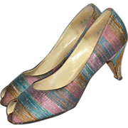 SALE 1960s Mr. J. Andre ~ Striped Lilac & Blue Boucle Fabric Peep Toe Heels