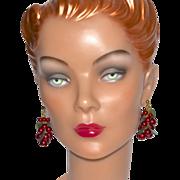 SALE Red Berry & Lucite Leaf Cha-Cha Dangle Earrings