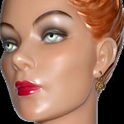 SALE Edwin Pearl ~ Goldtone Flower Dangle Earrings
