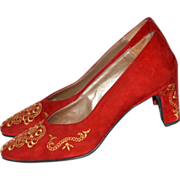SALE Spiegel ~ Red Suede Leather w/ Gold Embroidery Heels ~ Size 6B