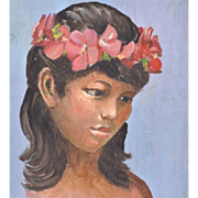 SALE 1950s Hawaiian Girl Original Oil on Board Painting