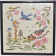 SALE Cross-Stitch Embroidery Birds w/ Birdhouse & Flowers in Frame
