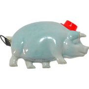 SALE 1930s Blue Pig in Red Hat Celluloid Sewing Tape Measure