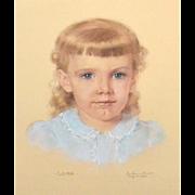 "SALE 1957 Signed & Framed Original ""Laura"" Pastel Painting"