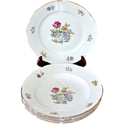 SALE Europa Bouquet ~ 4-Pc Czech Porcelain Rimmed Bowl & Salad Plate Set