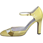 SOLD CHANEL Yellow & Pink Mod Patent Leather Mary Jane Style High Heels ~ Size 38.5