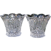 SALE Studio Nova ~ Set of 2 Crystal Rose & Hobstar Votive Candleholders