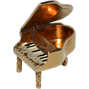 SALE 14K Gold Enamel Mechanical Grand Piano Charm