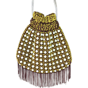 SALE 1970s Quirky Brown & Yellow Egg Bead Fringe Drawstring Purse