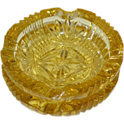 SOLD Set of 2 Hollywood Regency Fluted Topaz Glass Ashtrays