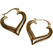 SALE Signed 14K Gold Heart Hoop Italian Earrings