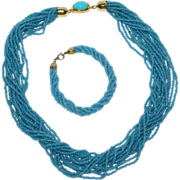 SALE Robin's Egg Blue Glass Seed Bead Necklace & Matching Bracelet