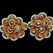 SALE 1950s Bauble Bead Cluster Goldtone Clip Earrings