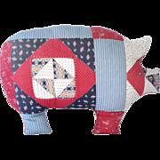 SALE Handmade Patchwork Quilt Style Pig Pillow