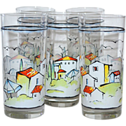 SALE Set of 5 Provence Sakura by Apple Tumbler Glasses
