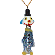 SALE Rare Murano Confetti Art Glass & Rhinestone Clown Pendant