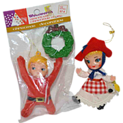 SALE Set of 2 Flocked Dutch Girl & Woolworth Pixie Christmas Ornaments