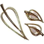 SALE Sarah Coventry Stylized Leaf Goldtone Pin & Earrings Set