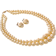 SALE Simulated Double Strand Pearl Necklace & Earrings Set