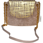 SALE Magdesian's of California Metallic Taupe Suede Goldtone Chain Purse