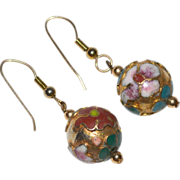 SALE Chinese Cloisonne Enamel Flower Gilded Dangle Earrings