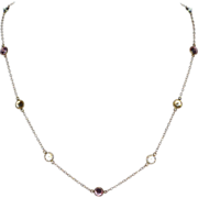 SALE 14K Gold Bezel Set Multi-Color Cubic Zirconia Necklace